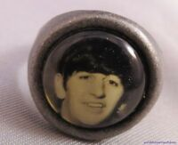 VINTAGE 60S BEATLES RINGO STARR SILVER GUMBALL RING card bw photo adjustable US