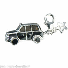 Tingle London Black Taxi Cab Sterling Silver Charm with Gift Bag and Box SCH175