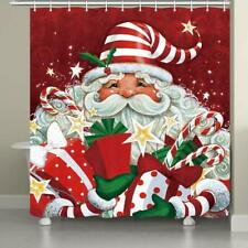 Cartoon Santa Clause with Many Gifts Christmas Waterproof Fabric Shower Curtain