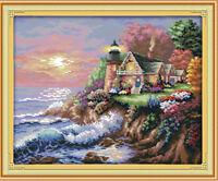"Joy Sunday-The Seaside Lighthouse Counted Cross Stitch Kit 17"" X 15"" 14CT Fabric"