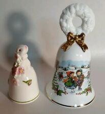 Avon Fine Collectibles Christmas Bells 1986&1984 Bunny Porclain Mint