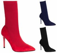 Womens Ladies Knit Stretch Stiletto Sock Boots High Heels Pointed Toe Shoes