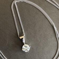 "18ct White Gold Solitaire Diamond Necklace 0.40ct Pendant 18"" Chain Hallmarked"