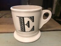 Anthropologie Monogram E Coffee Mug Cup Shaving Letters White Black