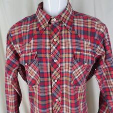DeeCee Rangers 16 L 16 1/2 Western Shirt Pearl Snap Plaid Work Vintage 1970's