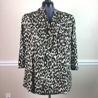 Style Co Womens Top Leopard Print 3/4 Sleeve Pin Tuck Button Plus Size 3X