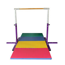 Purple Adjustable Horizontal Bar-Gymnastics Height Options Colorful Folding Mat