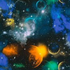 Glow in the Dark Space Wallpaper Blue Purple and Yellow Moons and Stars 34066-1