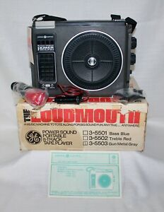 Portable 8 Track Player & Tapes GE Loudmouth Power Sound 3-5503 IOB Vintage