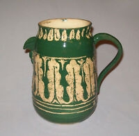 Great Vtg Yellow Ware Pottery Pitcher With Green Glaze Hand Made Incised Designs