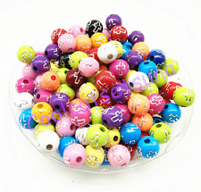 100 Pcs 8mm Mixed Color Cross Acrylic Charm Round Spacer Loose Beads