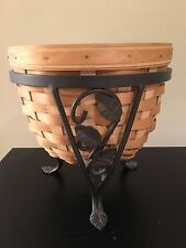 Longaberger Garden Collection Flora Basket with Wrought Iron Stand & Protector