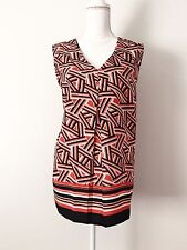 NWT Nine West Tank Top Striped SizeXL Sleeveless Pleated Guava Multi V-Neck