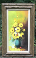 VINTAGE McM Floral Vase Bright Yellow Oil Painting Canvas SIGNED FRAMED
