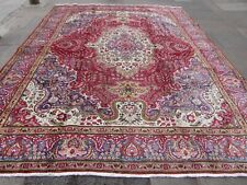 Vintage Hand Made Traditional Rugs Oriental Wool Red Blue Large Carpet 382x299cm