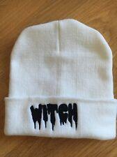 Ladies Girls Woolly Hat Warm Winter Knit White Stretch Beanie Cap WITCH One Size