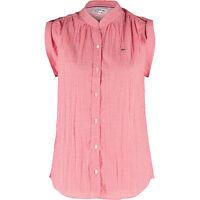 LACOSTE Women's Red Checkered Sleeveless Shirt, Medium / FR 40