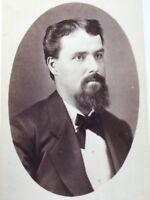1800's Antique Cabinet Photo Handsome Bearded Man DEFIANCE OHIO