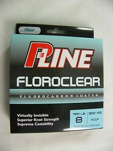 FCCF-8 PLINE FLUOROCARBON COATED TEST 8 LB 300 YDS YARDS CLEAR             615