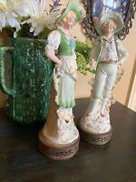 Vintage Italian Porcelain Sculptures Figurines on Metal Stand 3D Art Hg17