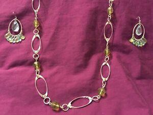 "Fashion Jewelry Green Sapphire Earrings & Long Link Necklace 33"" in. Silver"