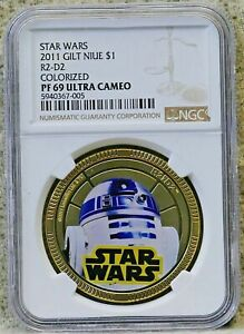 STAR WARS 2011 - R2-D2 - $1 Gold Plated Coin, ULTRA  * * NGC PF 69 * *