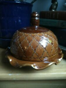 Round Domed - Lidded - Dish Butter Keeper Brown Glazed Ceramic Hand Made