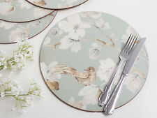 Set of 4 DUCK EGG Floral Bird CORK-BACKED Premium ROUND PLACEMATS