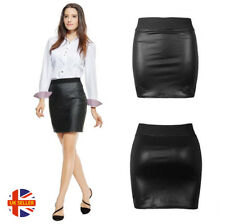 c802d3d4896 Womens Sexy Black Faux Leather Rock Chick Latex Look Fetish Stretch Mini  Skirt