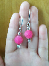 10mm Pink Dream Fire Dragon Veins Jade Leverback Sterling silver Dangle Earring