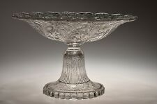 ca. Mid 1800's UNKNOWN Continental FLINT CRYSTAL Pressed Glass Compote