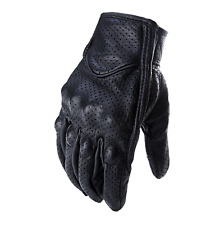 Goat Skin Leather Touchscreen Motorcycle Riding Perforated Gloves Men/Women