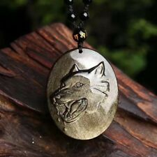 Natural Golden obsidian eye carving Wolf pendant + Bead Chain