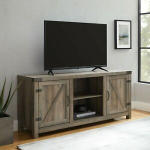 """Woven Paths Farmhouse Sliding Barn Door TV Stand for TVs up to 65"""", Grey Wash"""