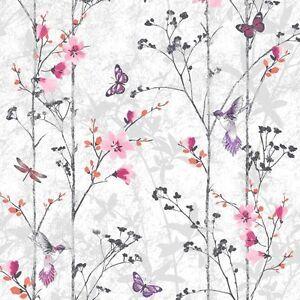 New Muriva Feature Floral Butterfly Bird Foliage Wallpaper Eden Pink - 102550