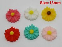 "50 Mixed Color Cabochon Daisy Flower Flatback Resin 13mm(0.51"") DIY Embellishmen"