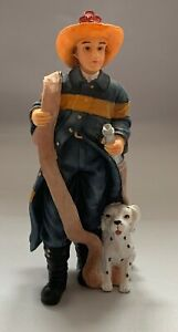 Dolls House Miniature 1/12th Scale Resin Doll 'Fireman and Dog'' HW3064