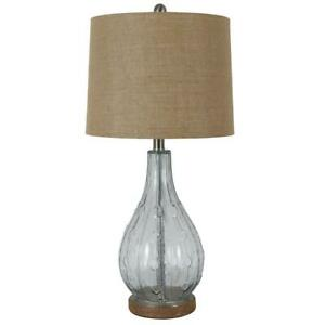 Table Lamp 27.5 in. Clear Glass Jute Base On/off Switch with Burlap Drum Shade