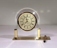 Bulova German Movement Desk Clock with Pen Holder Glass & Brass