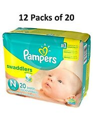 Pampers Swaddlers Size Newborn (12 Packs of 20 = 240 count) Diapers FULL CASE