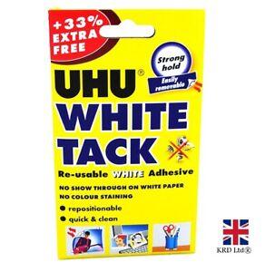 UHU WHITE TACK 33% Extra Reusable Adhesive Sticky Tack Blue Blu Tac 66g PACK UK