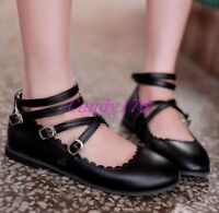 Womens Round Toe Flats Ankle Strap Lolita College Ballet Casual Shoes Plus Size