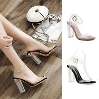 Women Clear High Block Heel Sandal Ladies Perspex Ankle Strap Office Comfy Shoes