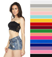 Strapless Lace Bandeau Bra Lined Non Padded Stretch Layering Bralette Crop Tube