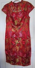NWT Red Gold Chinese Cheongsam Qipao  Midi Wedding Prom Evening Formal Dress S M