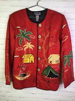 Indigo Moon Size L Womens Blazer Jacket Red Embroidered Art Asian Landscape Boho