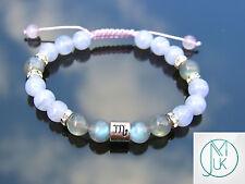 Scorpio Fire Labradorite/Blue Lace Birthstone Bracelet 7-8'' Macrame Healing