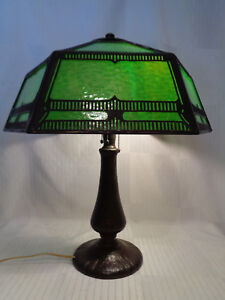 KILLER SIGNED HANDEL ARTS & CRAFTS TABLE LAMP, GREAT GLASS, GREAT PATINA...