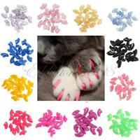 20pcs Soft Cat Pet Nail Caps Claw Control Paws off + Adhesive Glue XS-L Choose