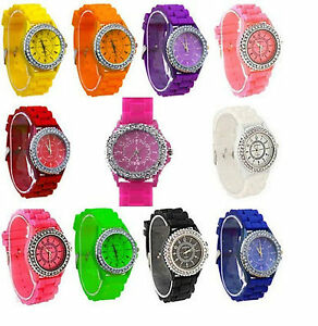 NEW WOMENS LADIES CRYSTAL RUBBER JELLY SILICONE BRACELET WRIST WATCH